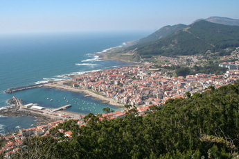 Blick auf A Guarda, spanisches Fischerdorf auf dem Camino Portugués de la Costa