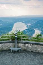 … und kurz darauf genießen Sie das spektakuläre Panorama vom Drachenfels