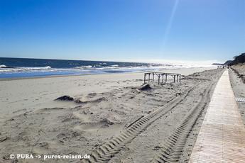 … Usedom erreicht, wo Sie ein Teilstück auf diesem herrlichen Bohlenweg am Strand wandern!