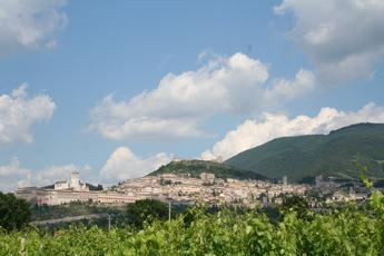 Blick zurück auf auf die UNESCO-Welterbe-Stadt Assisi