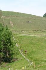 Wanderer auf der Etappe von St Jean Pied de Port nach Roncesvalles