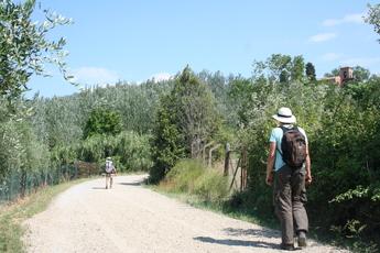 Wanderer auf der Via Francigena