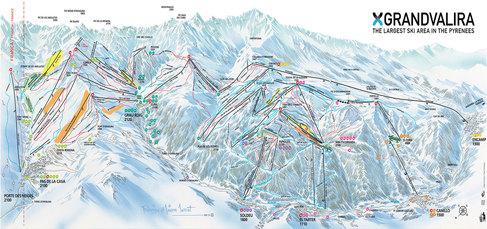 Pistenplan der 4-Täler-Skischaukel Andorra-Grandvalira